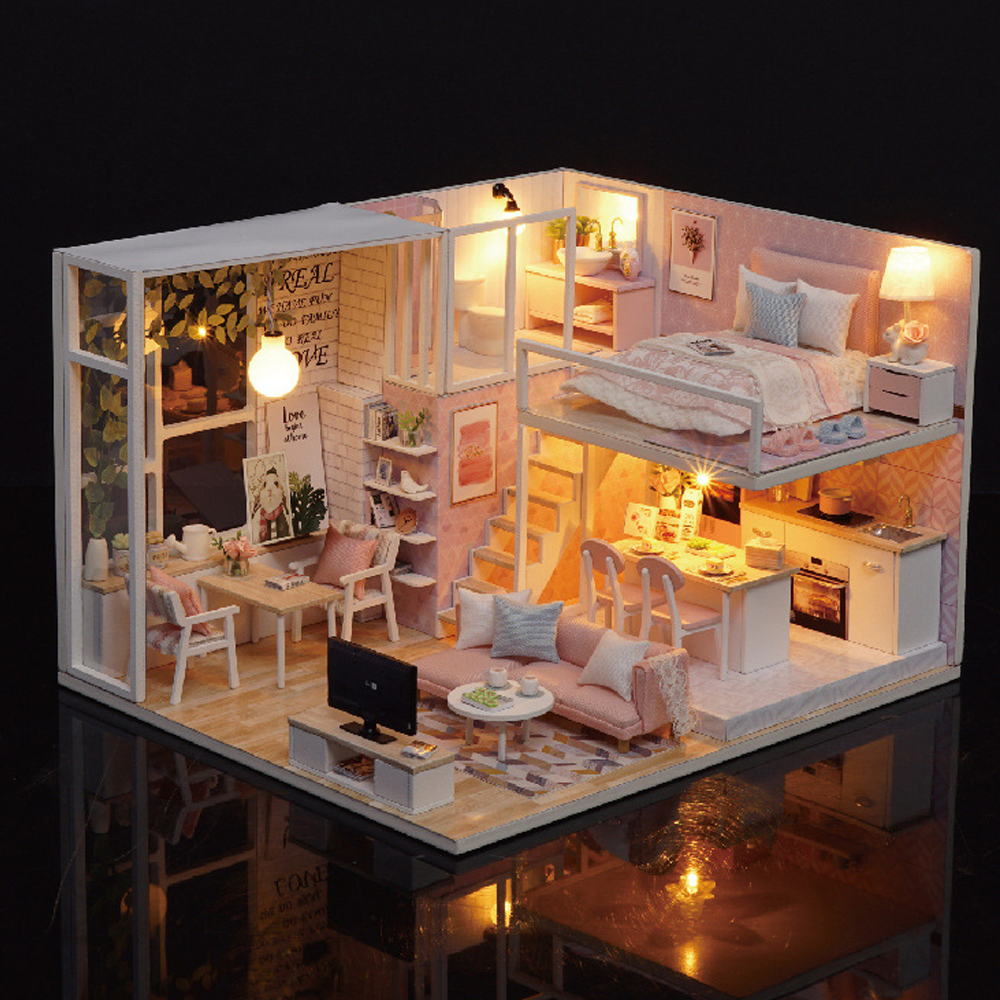 Cute Room DIY Miniature Doll House with Furniture Wooden Kitchen Accessories Handmade House Model Toys For Children Gift цена 2017
