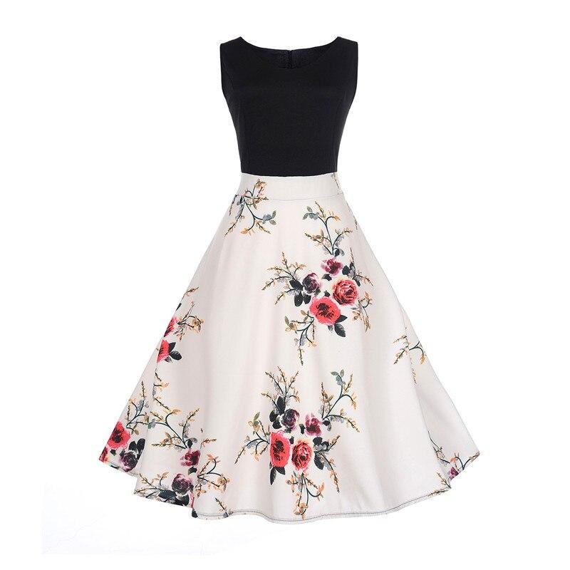 Womens Plus Size Dress V-neck Sleeveless Big Swing Hit Color Stitching Retro Dresses Female Maxi For 2018 Neglect Sarafan