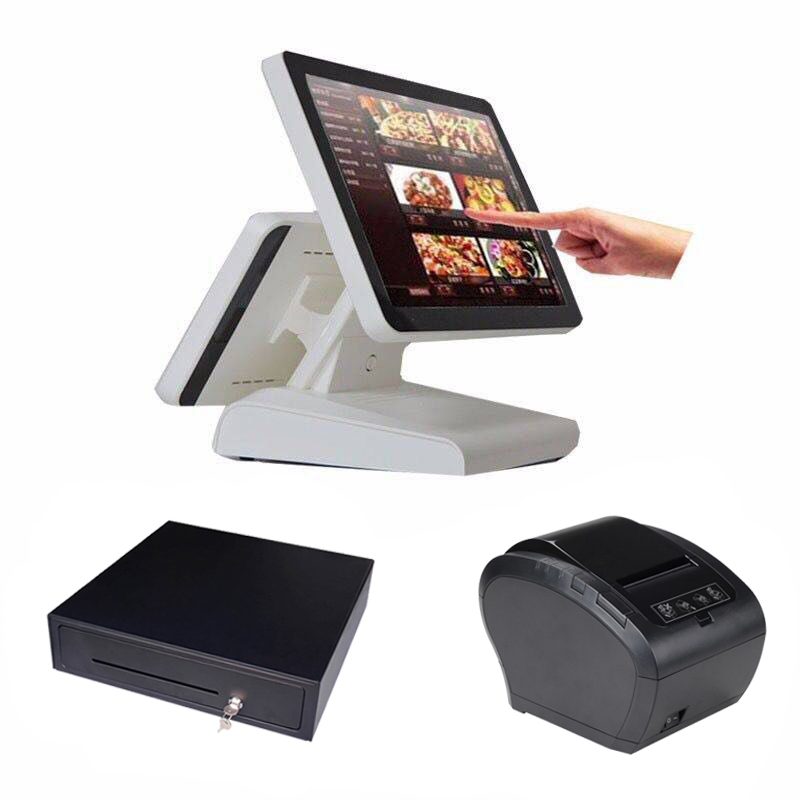 "15 ""All in One LED touch screen PC POS computers COMPOS 1619D with cash drawer 80mm higher dual display quality receipt printer"