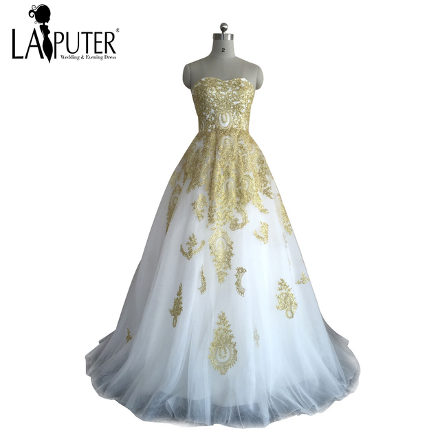 New Arrival 2017 Custom Made Gold Lace Appliques Ball Gown Long ...