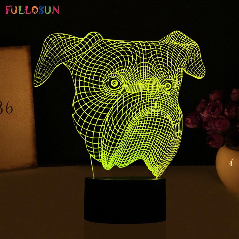 Мило 3D LED визуальное Ночные Светильники LED животных Собака Форма Настольная лампа с 7 цветов мигалками как детская игрушка лампа ...