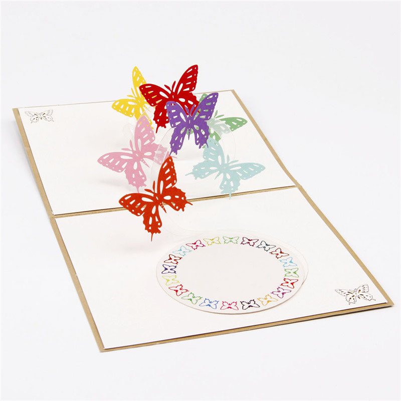 3D Paper Laser Cut Carving Rainbow Butterfly PostCard Greeting Cards Wedding  Birthday Party Invitation Card Valentineu0027s