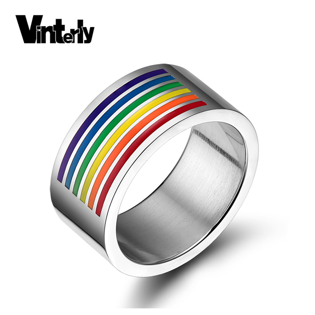 vinterly gay pride rainbow wedding rings for women men jewelry lgbt gold color stainless steel - Rainbow Wedding Rings