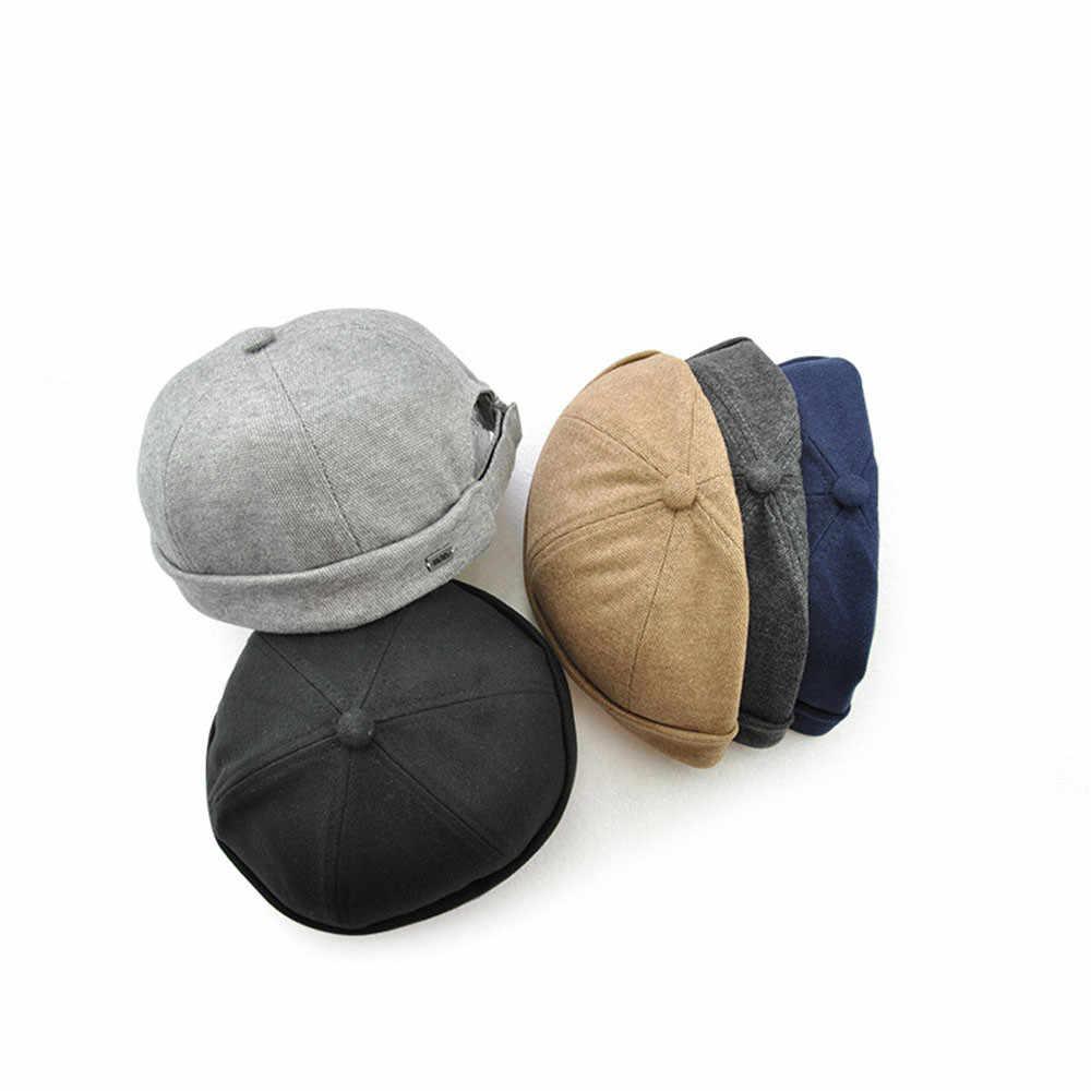 eef731d82a8 Men Women Skullcap Hat Cap Casual Docker Sailor Mechanic Brimless Solid  Color Gorro Invierno Mujer Winter