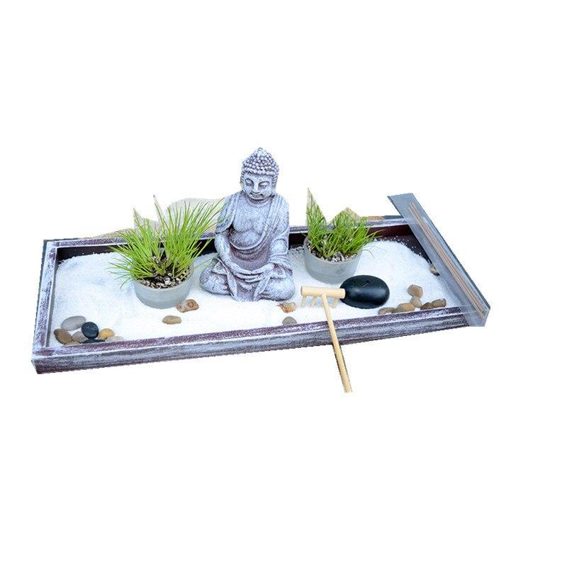 Da tavolo Zen Garden sabbia tabella Buddha meditazione creativa home hotel feng shui decorazione di Candela di Incenso Bruciatore di Complementi Arredo Casa Regalo 4