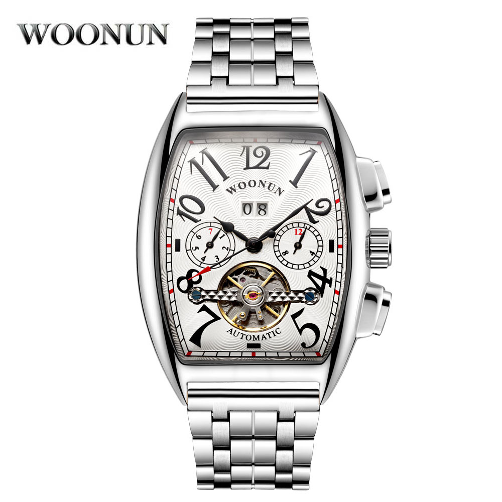 New 2018 Rose Gold Business Mechanical Wristwatches Men Luxury Famous Brand Stainless Steel Band Tonneau Watch Relogio MasculinoNew 2018 Rose Gold Business Mechanical Wristwatches Men Luxury Famous Brand Stainless Steel Band Tonneau Watch Relogio Masculino