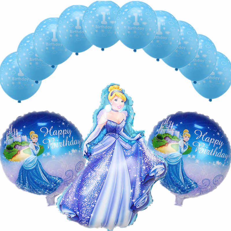13pcs/set Princess Cinderella Foil Balloons Clouds 1st Birthday Latex Balloons Baby Birthday Party Wedding Decoration Supplies