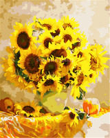 Framed Picture Painting By Numbers Modern Sun Flowers Home Decor For Living Room Hand Unique Gifts