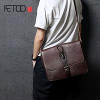 AETOO Single shoulder bag handmade retro male head layer cowhide crossbody bag leather postman pack business casual Men's bag