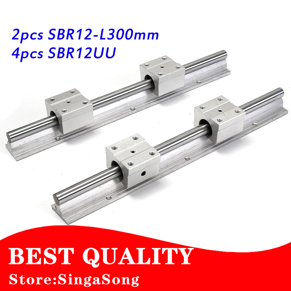 Best Price! 2 pcs SBR12 300mm for linear bearing supported rails+4 pcs SBR12UU bearing blocks for CNC best price 2 pcs sbr12 300mm for linear bearing supported rails 4 pcs sbr12uu bearing blocks for cnc