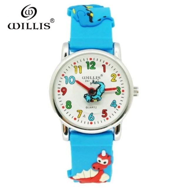 WILLIS Brand Waterproof Kids Watch Children Dinosaur 3D Cartoon Silicone Watches