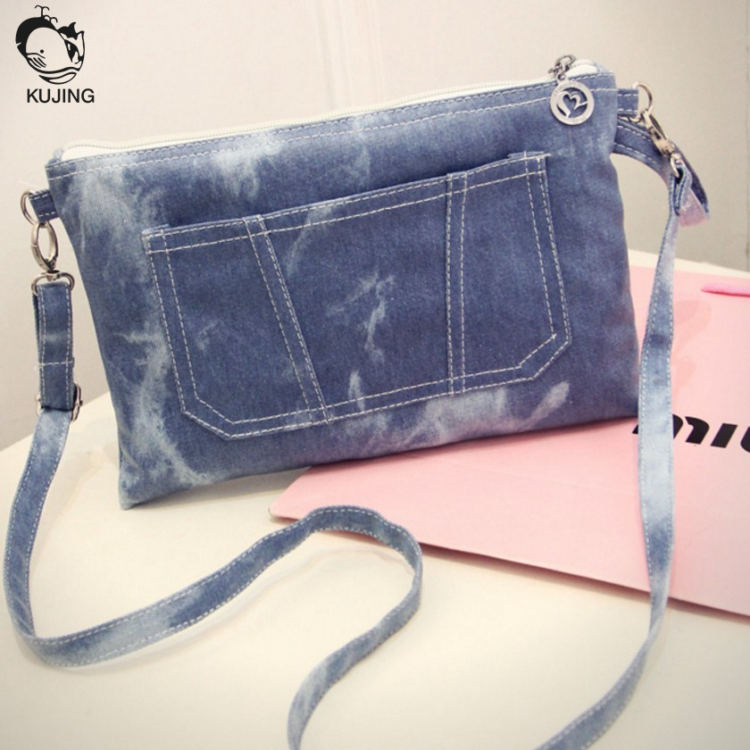 KUJING handbags high quality multi-purpose wear-resistant denim shoulder Messenger bag free shipping retro change phone bag