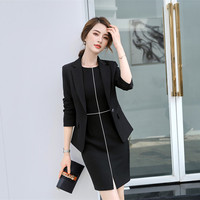 new 2018 formal female Women's black blazer dress jacket suits office ladies dresses two piece business sets tops blouses Work