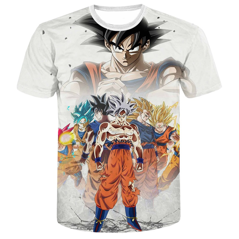 Dragon Ball Z Super Saiyan Goku Vegeta bedrukt T-shirt met korte - Herenkleding