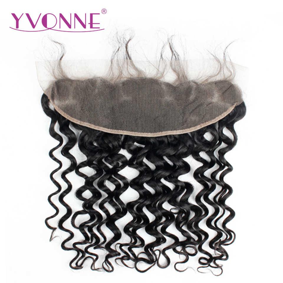 Yvonne итальянские вьющиеся бразильские человеческие волосы пучки с фронтальным естественным цветом 3 сплетение волос с 13*4 синтетический фронтальный