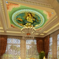 Free Shipping European Architecture Ceiling World Famous Painting Mural Living Room Hall Decoration Wallpaper