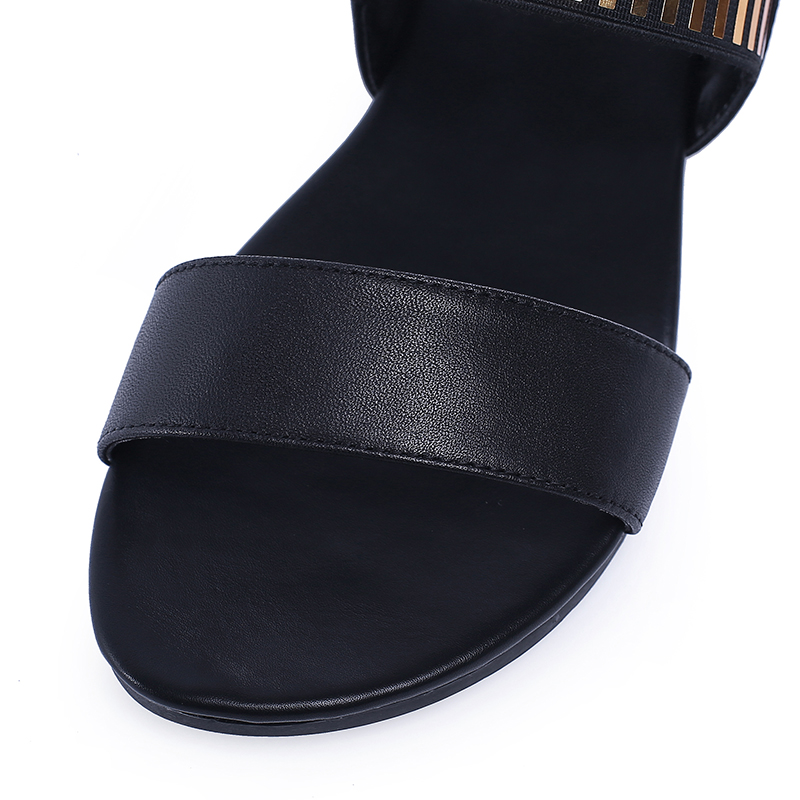 YANSHENGXIN Genuine Leather Summer Flat Sandals Women Peep Toe Sandals Shoes Back Buckle Strap Size 31 46 Zapatos De Mujer in Low Heels from Shoes
