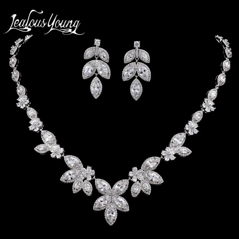 Luxury Flower Shape Cubic Zircon Nigerian Beads Necklace Wedding Jewelry Set For Bridal White Gold Color African Jewelry Sets madrry elegant flower shape copper jewelry sets full cubic zircon necklace