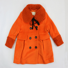 Winter coat for girls double breasted outerwear jacket thick clothes solid orange casual outerwear girls fashion