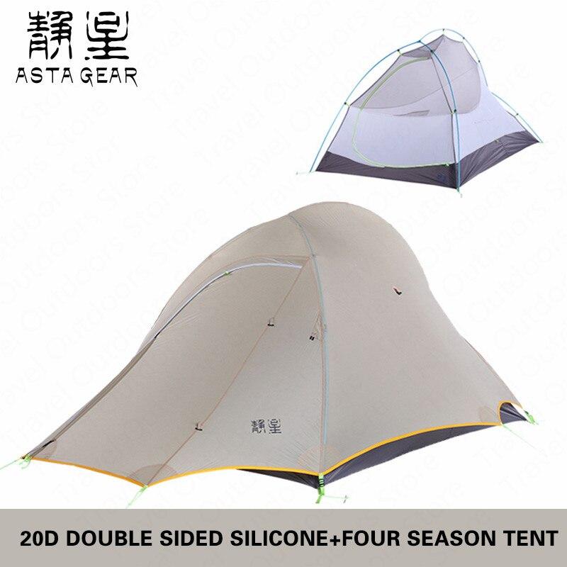 Astagear tente 1.57 KG Double face 20D Silicone ultra-léger Camping tente extérieure 2 personnes 4 saisons tente étanche indice 5000mm