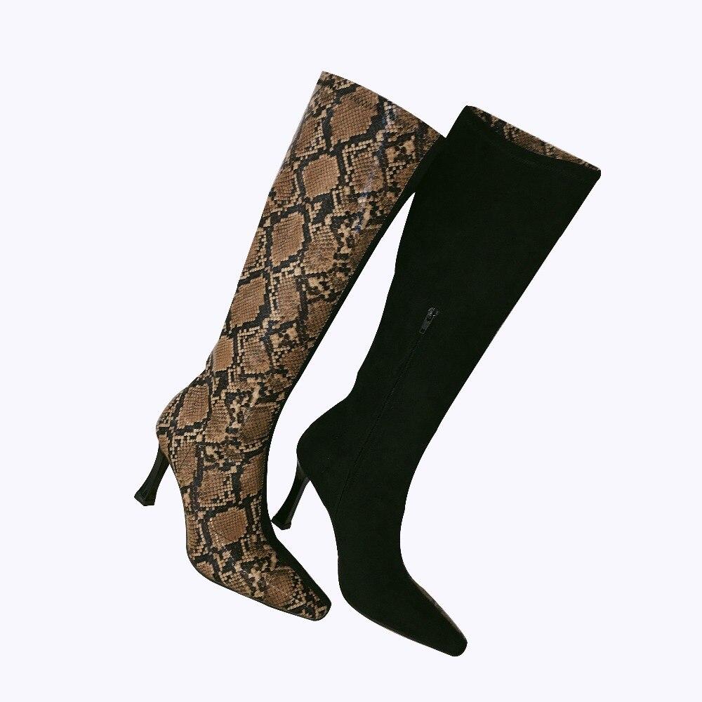 Serpiente Color Pic Zapatos Cuero Mujer Patrón Tacón Delgado Alto Las Botas Primavera De Sapato Mocasines Y Pic As Otoño as Moda Femenino Mujeres wqXx04