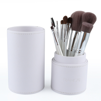 RANCAI 10pcs Makeup Brushes Professional Cosmetics Brush Set High Quality Top Synthetic Hair With White/Pink Cylinder set