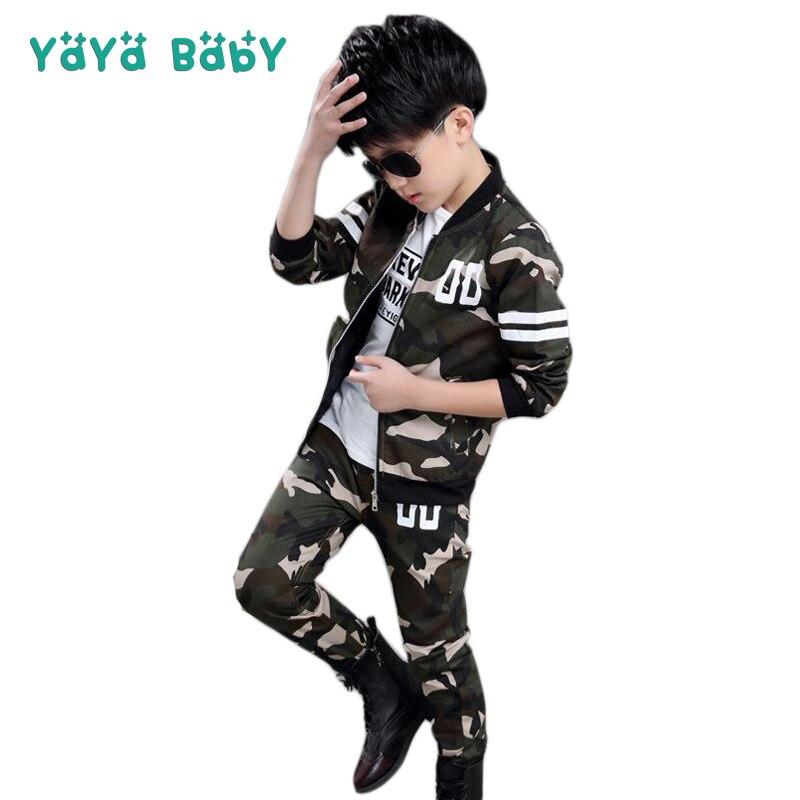 7b4c0205ce80c5 Beste Koop Jas + Broek Jongens Sport Suits 2018 Herfst Lente Camouflage  Kinderen Trainingspakken 4 5 6 7 8 9 10 11 12 13 14 15 jaar Kids Kleding  Goedkoop
