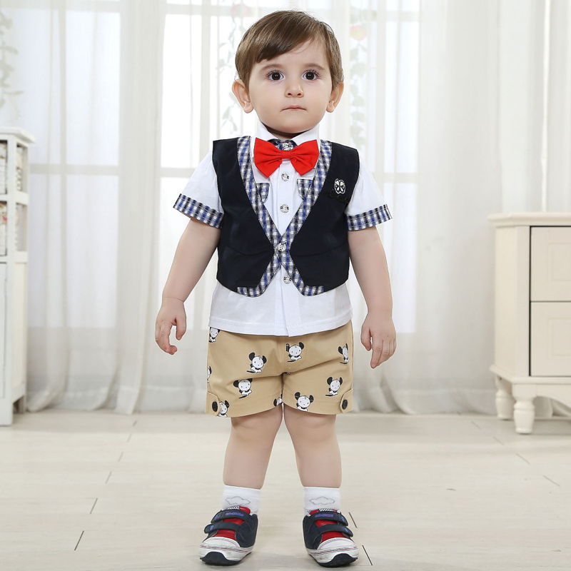 Wedding Suits For Baby Boy Gentleman Formal Wear Clothes Suit Boys Short Sleeve Set Lapal Sets Brand Cotton Shirt In Clothing From