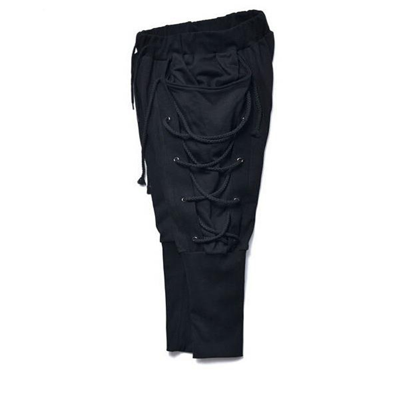 In eine solide farbe, medium taille gürtel mit kleinen bein hosen für männer, casual hosen, 9 minuten hosen BU6065