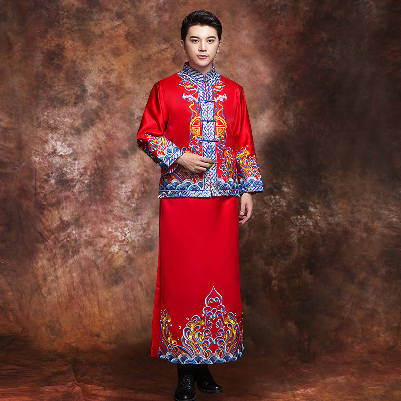 Chinese Traditional Male Embroidery Qipao Exquisite Men Bridegroom Marriage Suit 2PCS Classic Wedding Dress Vintage Cheongsam