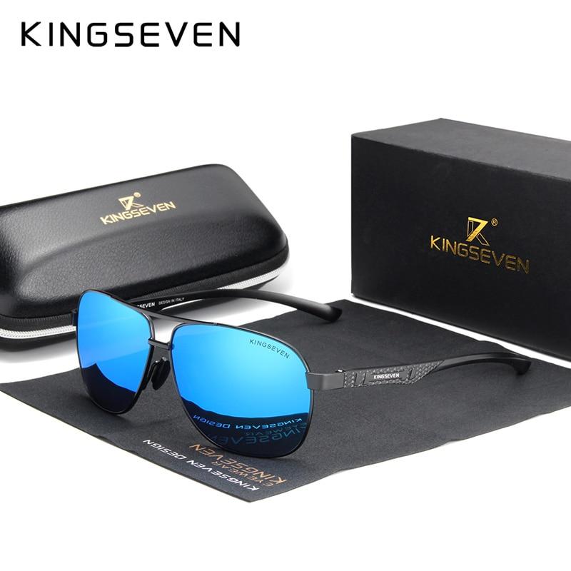 KINGSEVEN 2020 Brand Men Aluminum Sunglasses Polarized UV400 Mirror Male Sun Glasses Women For Men Oculos de sol 7