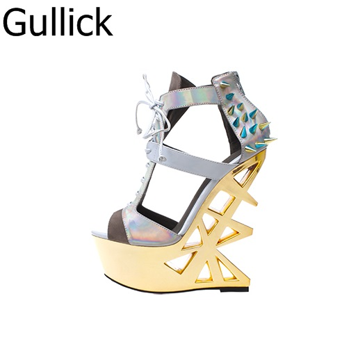Hot Selling Women T-Strap Peep Toe Hollow Out Sandals Party Style Back Zipper Fashion Platform Rivet Strange Metal Heel Shoes new women sandals gladiator casual flat heel shoes women fashion back strap peep toe flats heel sandals zipper rome women shoes