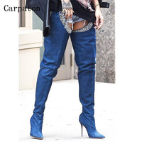 2017 New Style Trousers Boots Sexy Blue Denim Boots High Heels Shoes Woman Over Knee High