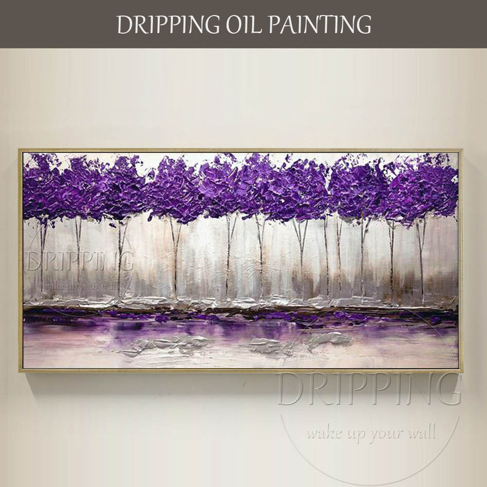 Purple Flower Oil Painting Abstract Wall Art Picture: Wall Art Painting Hand Painted Abstract Purple Landscape