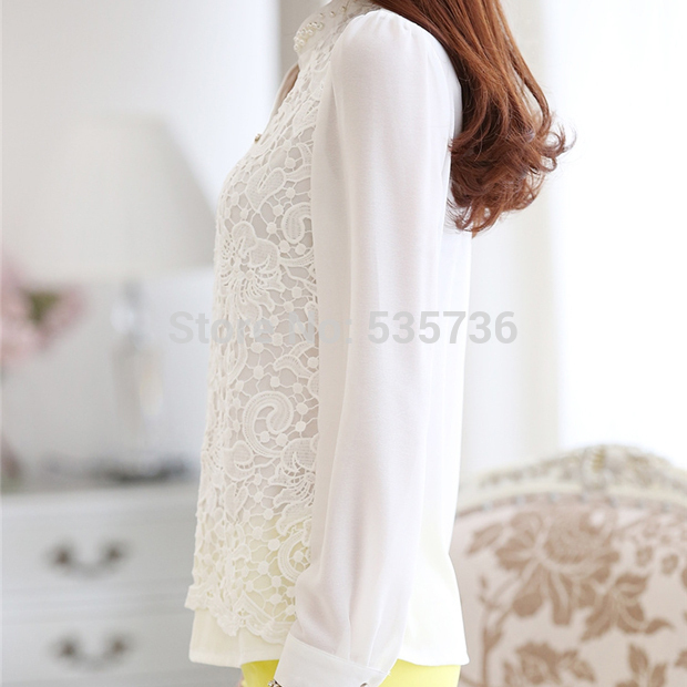 2017 New High quality Lace Blouse Beading Crochet White Long Sleeve Chiffon Shirt Feminine Income Plus Womens Clothing 60B6