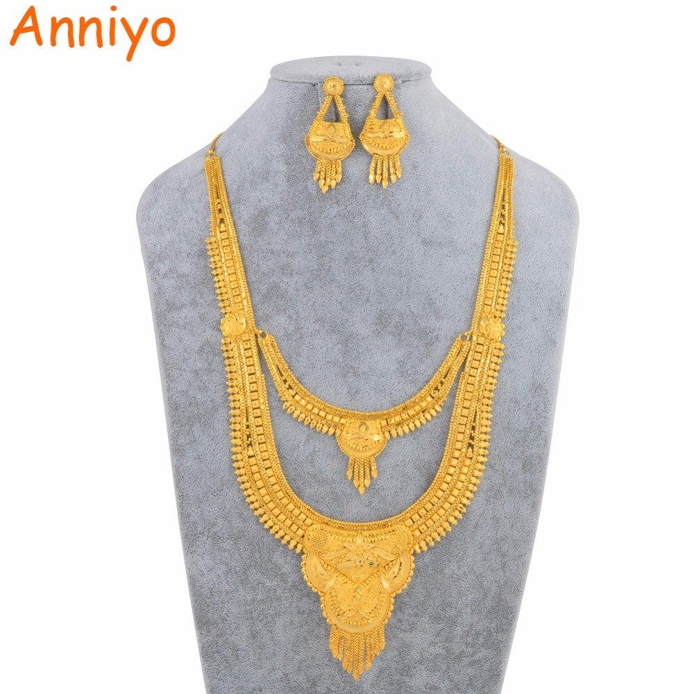 Anniyo Dubai Gold Color Jewelry Sets for Women Arabia Saudi Arabia United Arab Emirates Middle East Africa Wedding Gifts русалочка