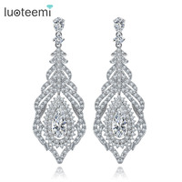 Teemi Luxury Micro Pave Cubic Zirconia Long Feather Earrings For Women High Quality Luxury Fashion Party