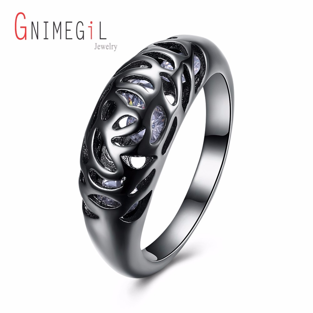 GNIMEGIL Brand Jewelry 8mm Black Hollow blue Dragon 316L Stainless Steel wedding rings f ...