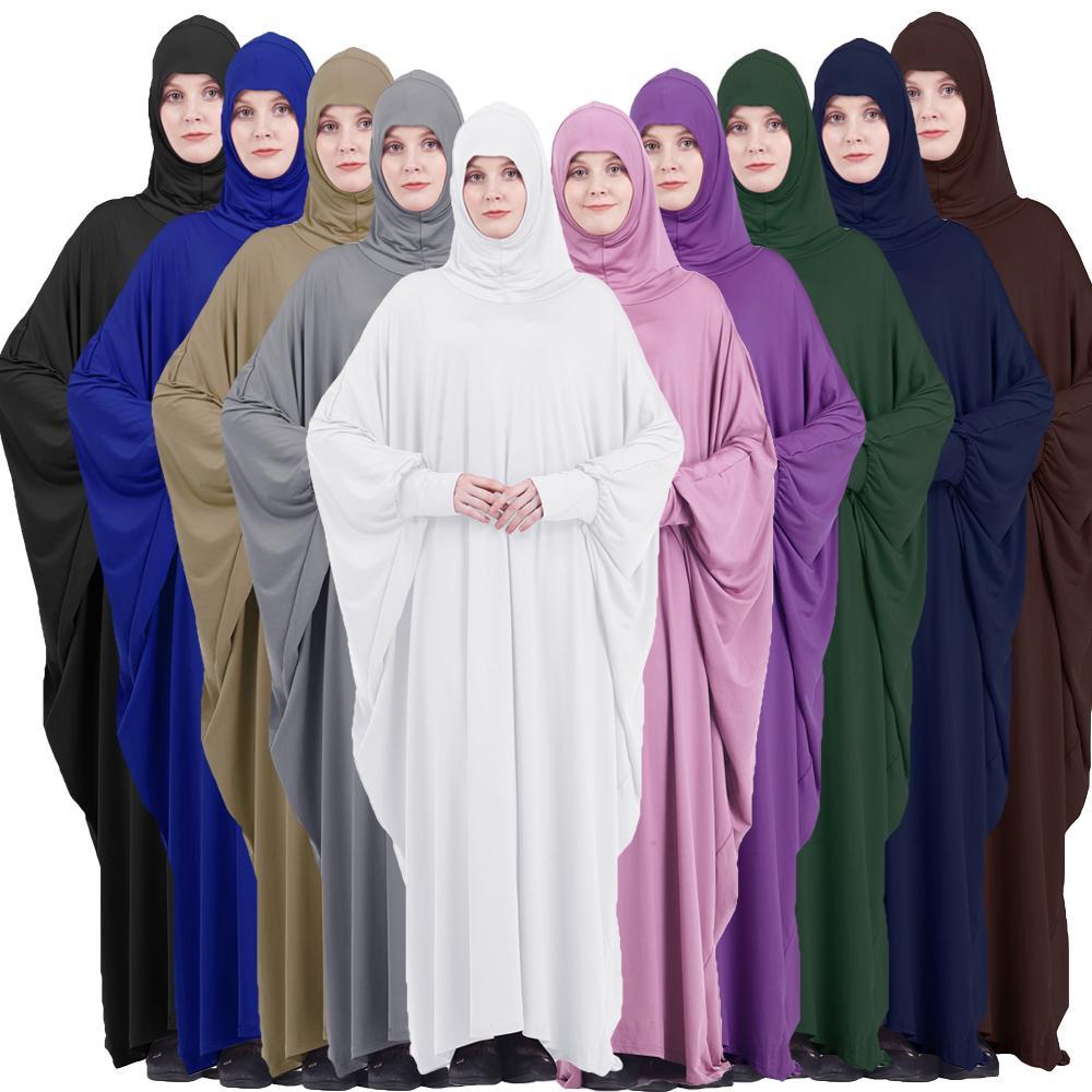 Muslim Women Full Cover Prayer Garment Hijab Long Maxi Dress Abaya Kaftan Robe Overhead Arab Middle East Maxi Gown Islam Clotes