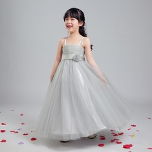 Платье принцессы 2016 новый цветок девочки платья длиной до пола без бретелек бальное платье девушки театрализованное платье для свадьбы партии выполняют