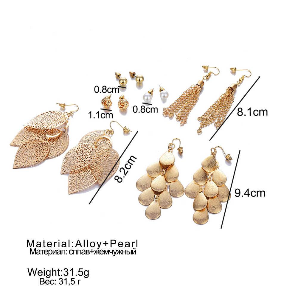 Bohemia Gold Silver Color Long Tassel Stud Earrings Set Fashion Round Irregular Steel Earrings For Women Jewelry Gift New