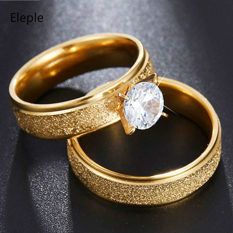 Eleple Luxury Titanium Steel Ring for Lovers Large Cubic Zirconium Inlaid Gold Color Wedding Engagement Ring Gift Jewelry S R174 in Rings from Jewelry Accessories