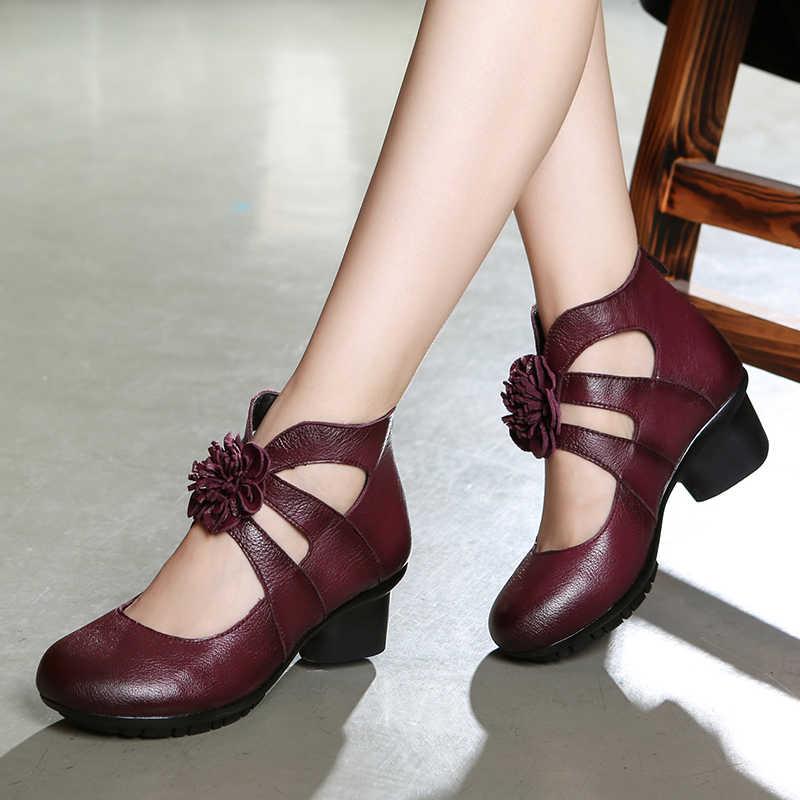 GKTINOO Vintage Yaz kadın ayakkabısı Hakiki Deri Yüksek Topuk Ayakkabı 2019 Sonbahar moda ayakkabılar Kaymaz Yumuşak Alt Kadın Pompaları