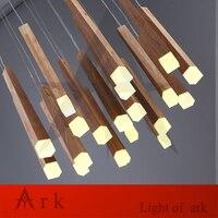 40 CM moderno Contratada bola de madera Que Restaura maneras antiguas de Múltiples Capas socket lámpara colgante luces Un globo Colgando araña