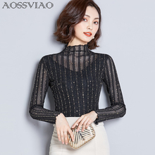 Turtleneck Spring Summer 2019 Womens Sexy Blouse Long Sleeve Transparent Shining Elegant Shirt Fashion Women Tops Black