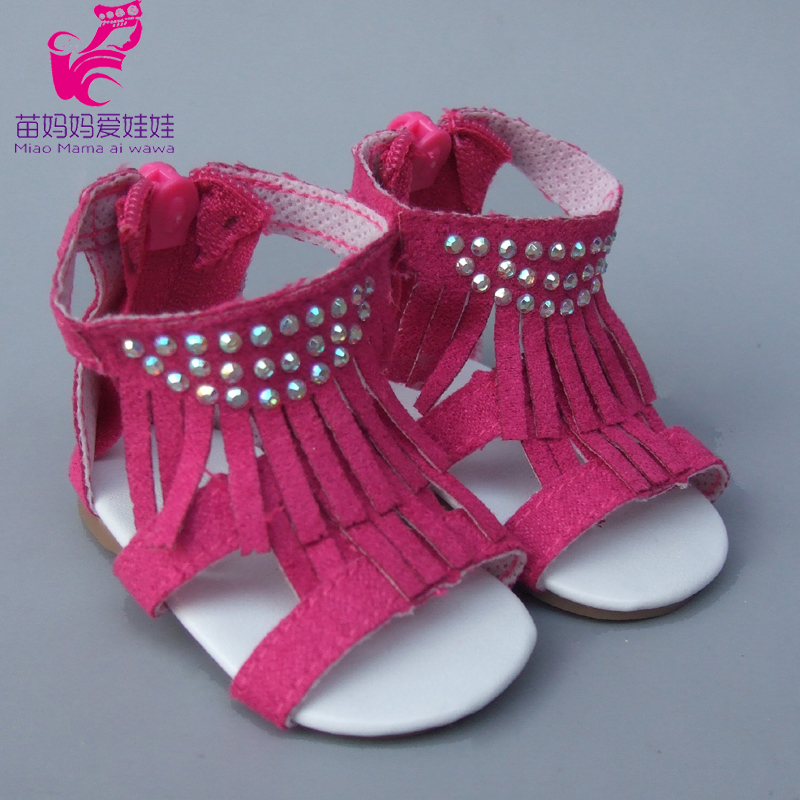 Summer Shoes For 18 Inch Girl Doll Jean 7cm Doll Shoes For 45CM Reborn Baby Doll Tassel Summer Sandals Shoes
