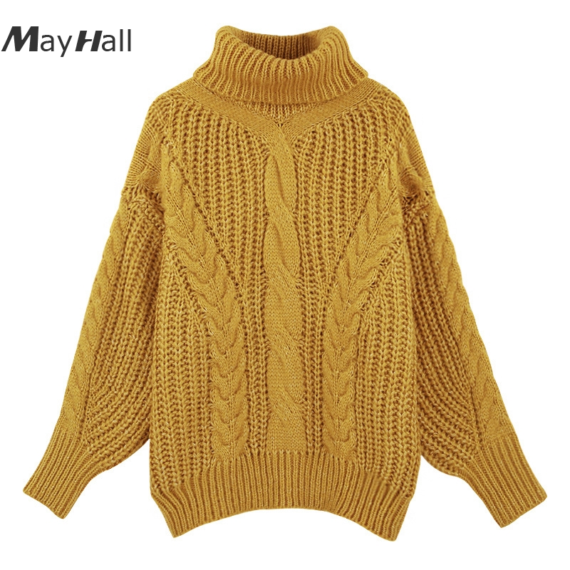 MayHall Winter Loose Batwing Sleeve <font><b>sweater</b></font> for <font><b>Women</b></font> Turtleneck Knitted Pullover Casual Jumper ropa <font><b>invierno</b></font> mujer <font><b>2018</b></font> MH359 image