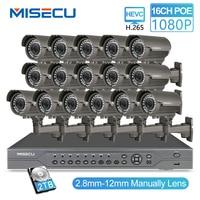 MISECU H.265 16CH POE Комплект 1080 P видеорегистратор реального POE 48 V 2MP 16 шт POE 2,8-12 мм зум Камера модуль ночь Водонепроницаемый P2P IP системы видеонаблюд...