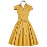 Fashion Summer Dresses Women Casual Cotton Vintage Dress Vestidos A Line Pleated Party 50s Swing Dress
