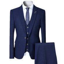 YFFUSHI 2017 New Men Suit 3 Pieces One Button Plaid Suits 4 Colors Wedding Party Business Casual Style Slim Fit Fashion